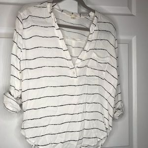 Black and white striped button up from Francesca's